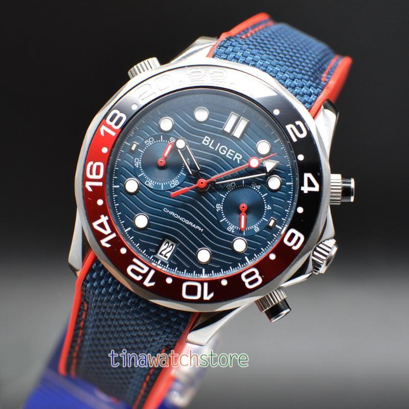 Armbanduhren 41mm BLIGER CERAMIC SAPPHIRE GLAS LINENOUS QUARZ MENS WACH VOLLSTÄNDIGES Chronograph