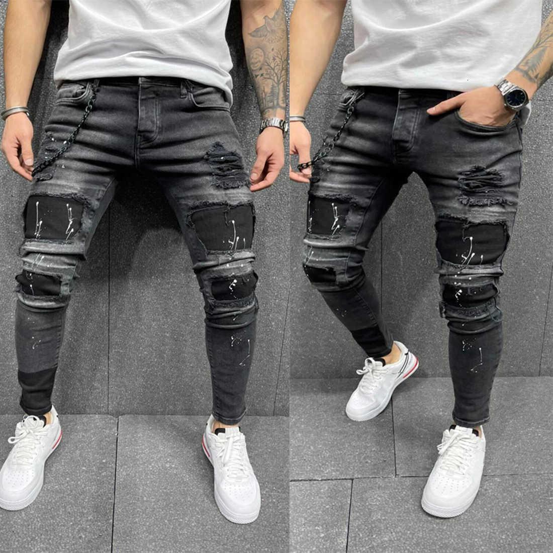 Men Ripped Ny Jeans High Quality Black Patchwork Biker Pencil Locomotive Denim Pants Streets Hip Hop Cowboy Trousers