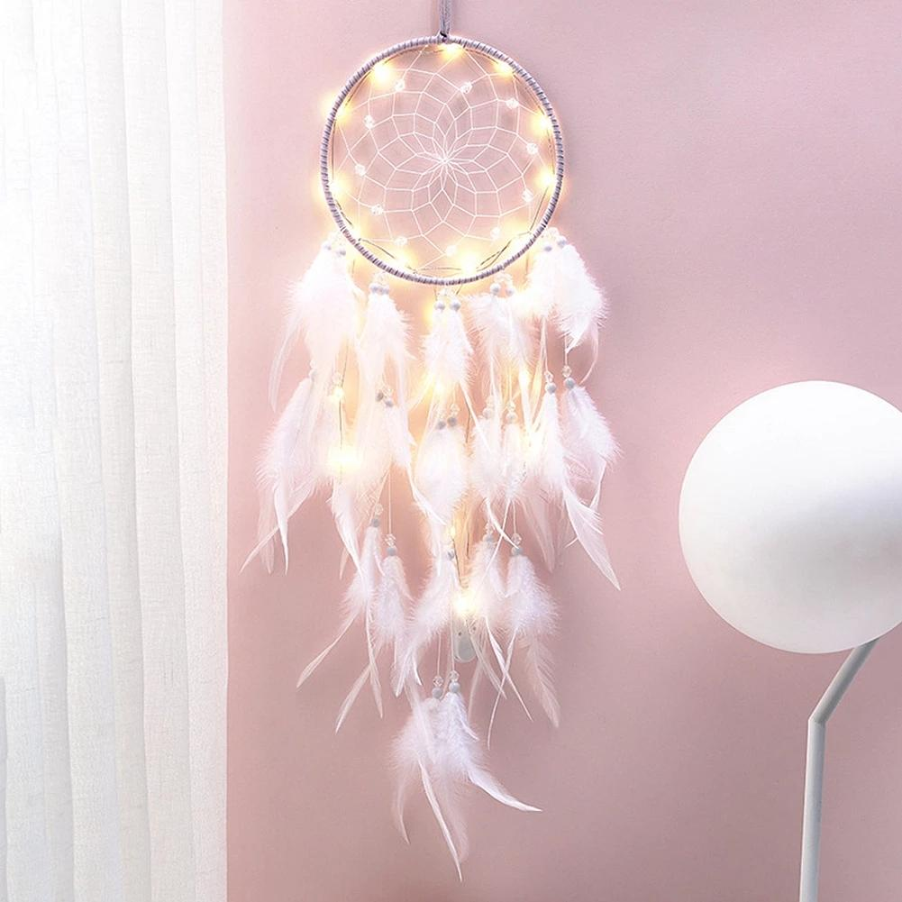Girl Heart Dream Catcher Novelty Items National Feather Ornaments Lace Ribbons Feathers Wrapped Lights Girls Room Decor Dreamcatcher