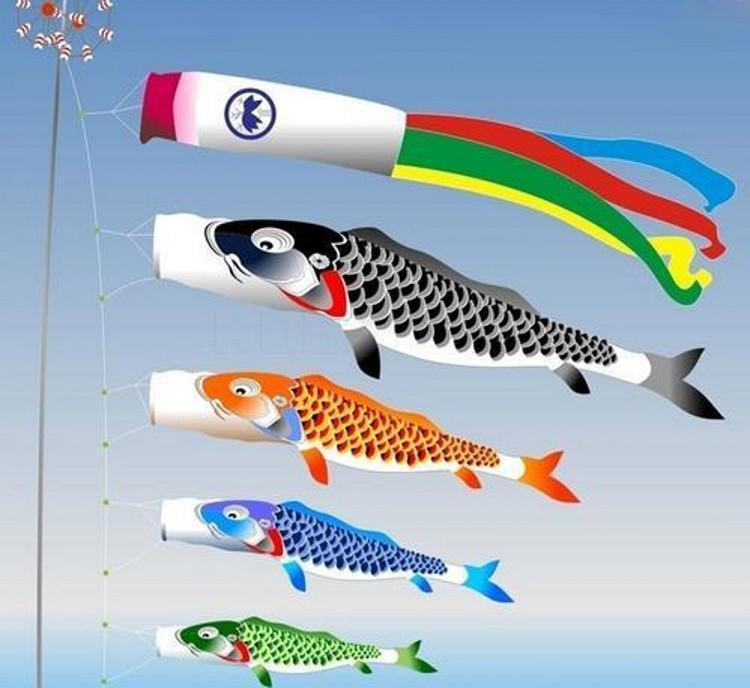 اليابانية koinobori كوي نوبوري الكارب يندسوكس البخل الملونة الأسماك العلم الديكور med الأسماك كايت العلم شنقا جدار ديكور