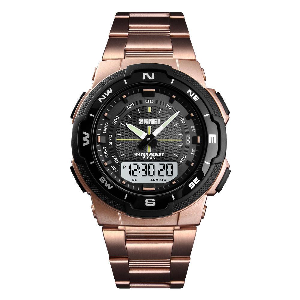 SKMEI Men's Watch Fashion Sport Watches Stainless Steel Strap MensWatches Stopwatch Chronograph Waterproof Wristwatch Men