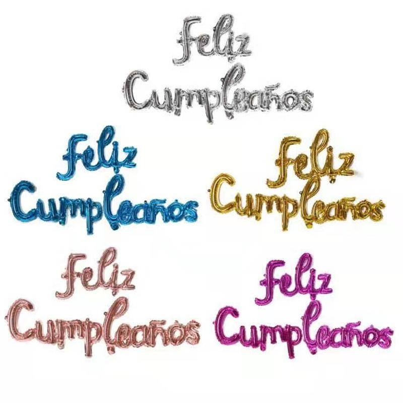 Испанский С Днем рождения Буквальные шары Строчные буквы CONOWIEDLED Алфавит Фольга Globos День рождения День Украшения Баннер Детский Душ