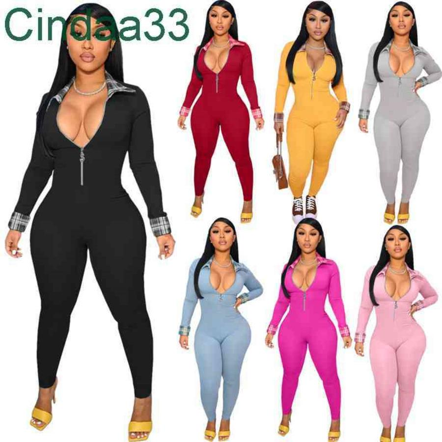 Women Jumpsuits Designer Slim Personalized One Piece Pants Sexy Color Matching Onesies Ladies Rompers 7 Colours