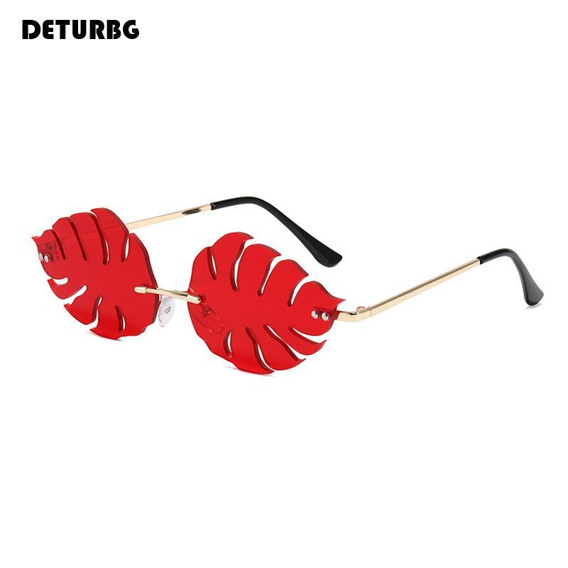 Divertidas hojas sin montares de sol gafas de sol Marco de metal de lujo para mujer Playa de gafas de sol vintage Sombras para mujeres espejo UV400 SG068