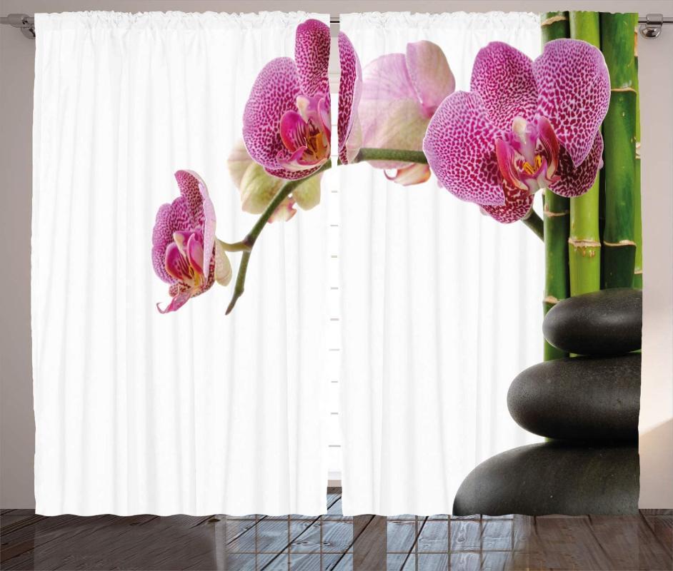 Vorhangdrapes Meditation Curtains Spa Steine Orchidee und Bambusstiele Yoga Wohnzimmer Schlafzimmerfenster