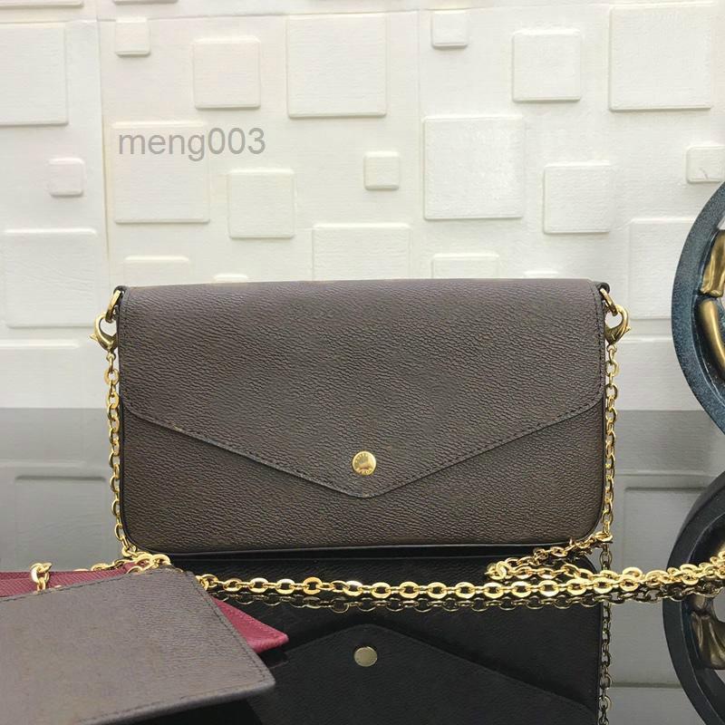 Hombre Hobo Bolso Felicie Mujeres con la bolsa de cadena de plata de la cadena Bolso M61276 Caja de Pochette Vintage con bolso extraíble Clutchbag IEMTJ