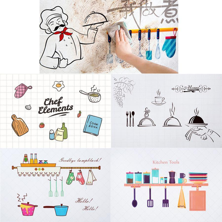 Kitchen Waterproof Wall Stickers Oil Proof Paper Self-adhesive High Temperature Anti-oil Stickers Home Stove Tile Wallpaper DH0724 T03