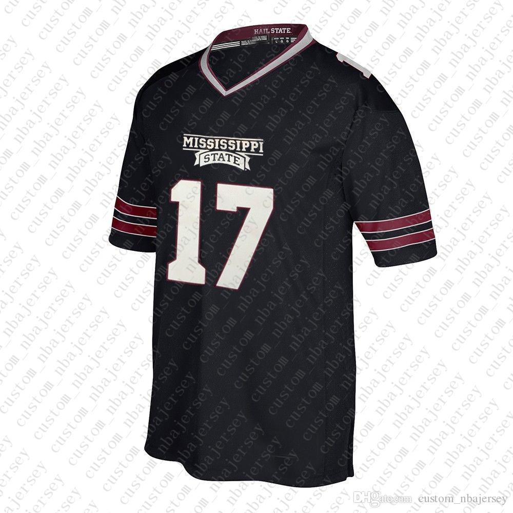 Пользовательские бульдоги штата Миссисипи # 17 NCAA Black Jersey персонализированные сшитые какой-либо имени номер XS-5XL