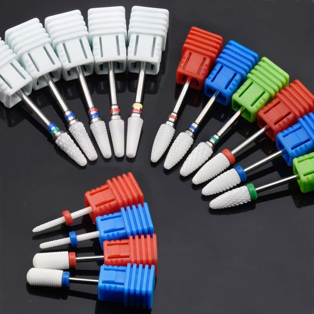 15 Tipi Beyaz Seramik Tırnak Matkap Bitleri Freze Makinesi Elektrikli Matkap Manikür Makinesi Aksesuar için Tırnak Dosyaları Sanat Araçları