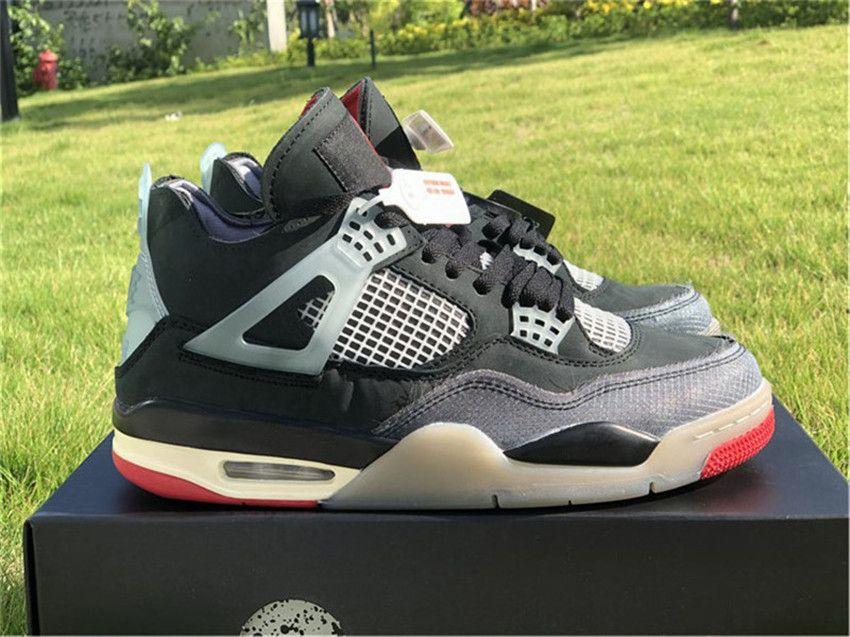 Sapatos Off Authentic 4 Criado SP Wmns Air Sail 4s Homem Muslin White Black Zapatos Calçado Original 40-47