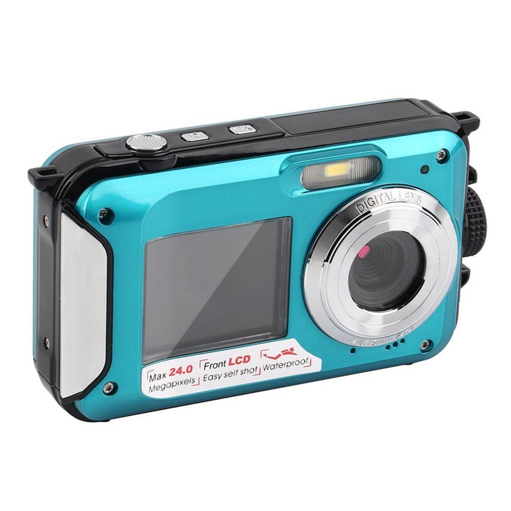 Dual Screen Underwater Digital Camera Selfie Video Recorder Waterproof Anti-Shake 1080P Full HD 2.4MP TF Card 32GB 16X Zoom