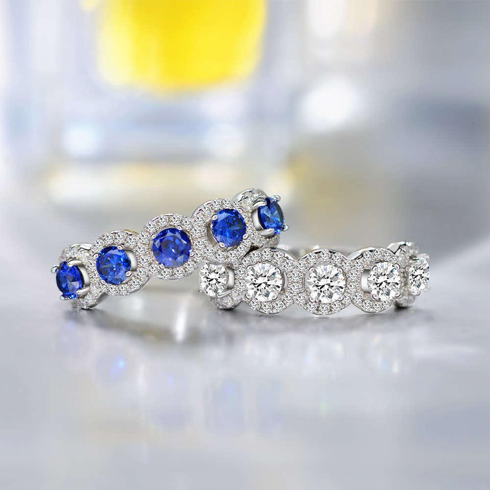 HBP fashion Shipai jewelry straight S925 silver artificial blue hand ornament inlaid women's ring