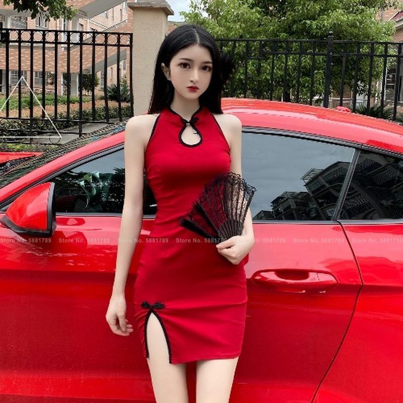Ropa étnica Mujer Retro Cheongsam Red Cheongsam Discoteca Sexy Bodycon Mini Vestido Moda Elegante Oriental Dama Split Slim Slim Chinese Qipao Dre