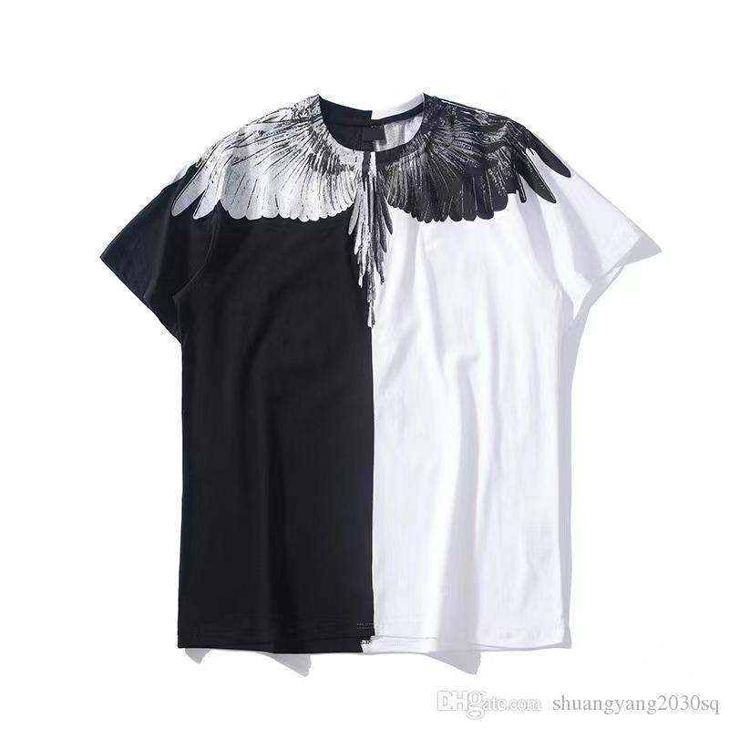 T-shirt uomo da uomo Angelo ali pattern stampati in cotone camicia in cotone ad alta strada T-shirt unisex maniche corte con maniche corte Top di alta qualità TEE