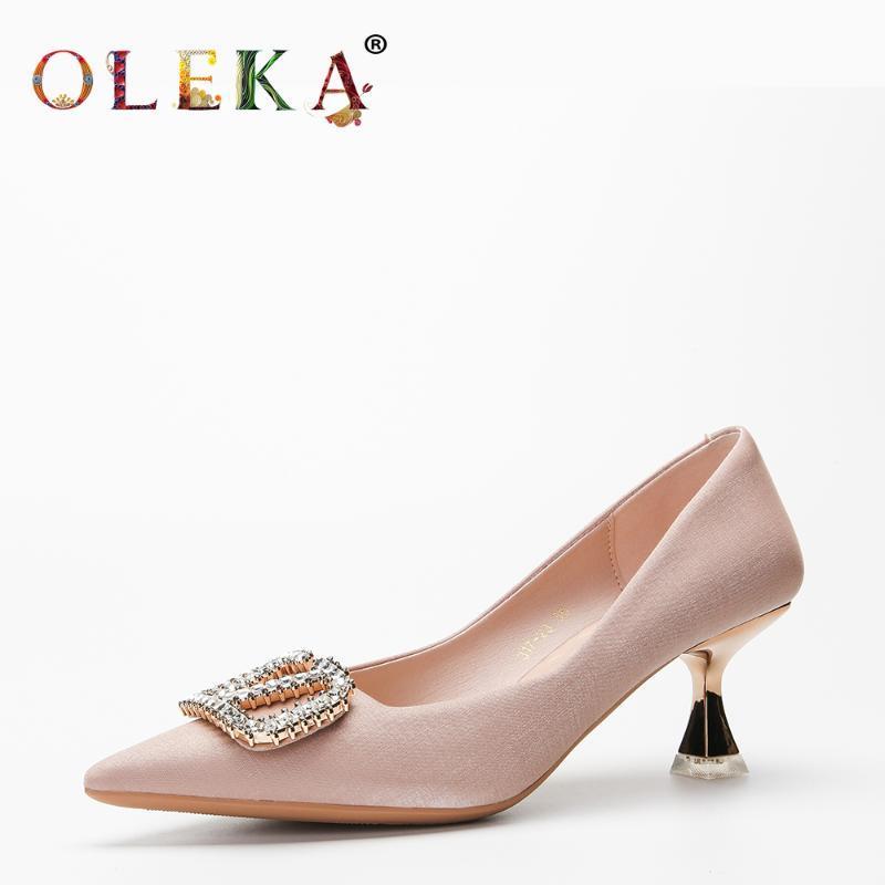 Обувь платье Олеха Красивая стиль для женщин каблуки насосы базовые средние металлические украшения свадьбы красивая весна осень заостренный Toeas997