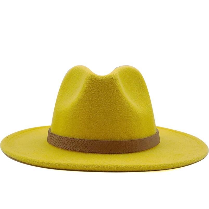 Mulheres largas borda de lã de jazz fedora chapéus Panamá estilo ladies trilby gambler chapéu festa de moda cowboy sunshade tampa 210608