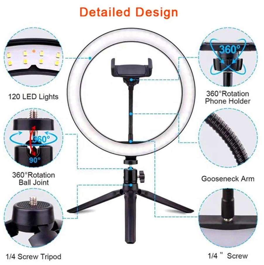 2021 TOP BLOOMVEG 26CM 10'' Dimmable lighting Led Desktop Live Broadcast Ring Fill Light With Tripod Stand Cell Phone Holder