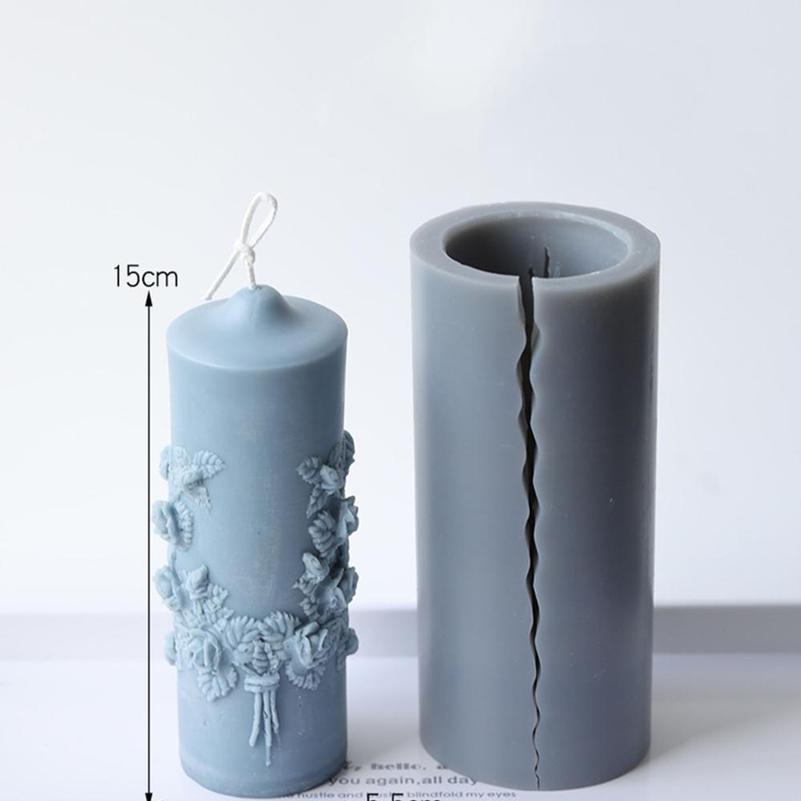 Natal Rose Flor Scented Candle Molde Cilíndrico Molde DIY Noiva Modelo de Cera de Cera Resina Epoxy Moldes Handmade Arom Jllywb