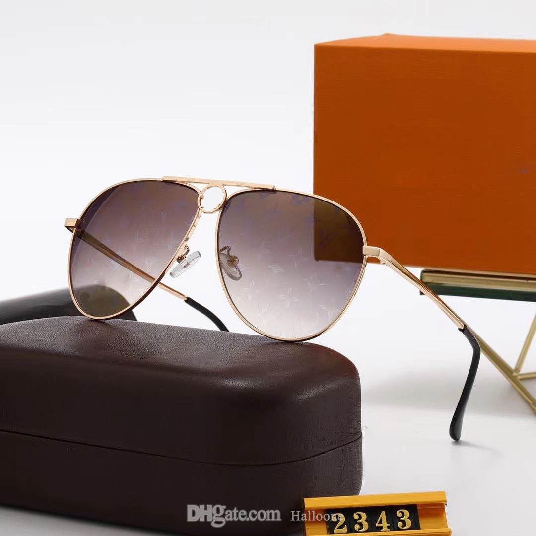 2021 Novo 2343 Moda 5A + Qualidade Mens Mulheres Sunglasses para Designer Vintage Piloto Marca Sun Óculos de Sol UV400 Ben óculos de sol com caixa de caixa