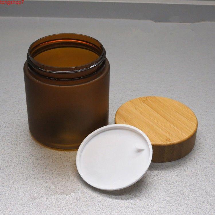 10 unids 250 g vacío mate plástico cuerpo cuidado facial crema facial con tapa de bambú DIY Frosted PET cosmético recargable recargable botella jarra jarra de jarra