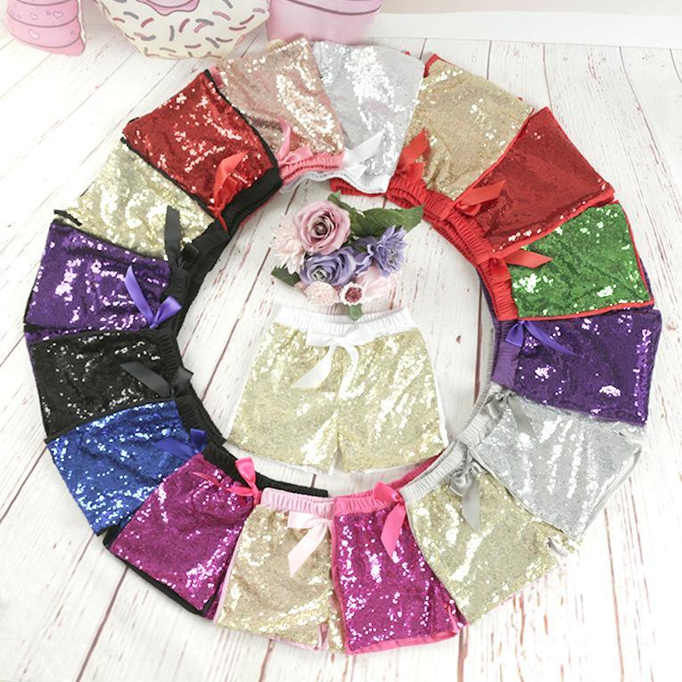 Baby Pailletten Shorts Sommerhosen Mädchen Glitter Bling Dance Kostüm Glühen Baumwolle Bowknot Kurze Boutique Hose