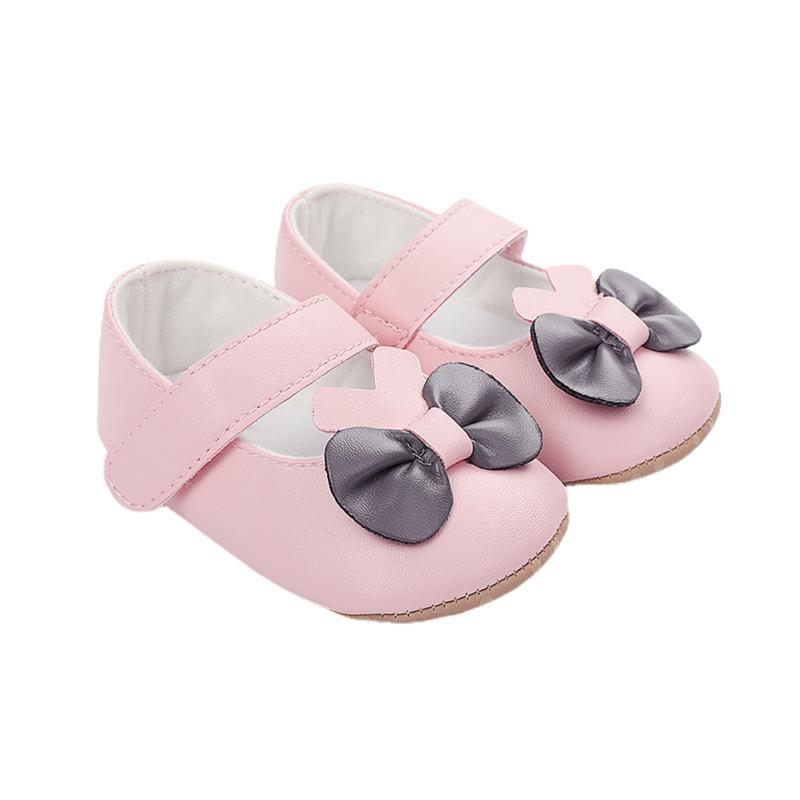 First Walkers Baby Burn Girls Solid Shoes Walker Bow Knot Mary Jane Flat Sole Infantil Niño Summer Non-Slip Prewalker