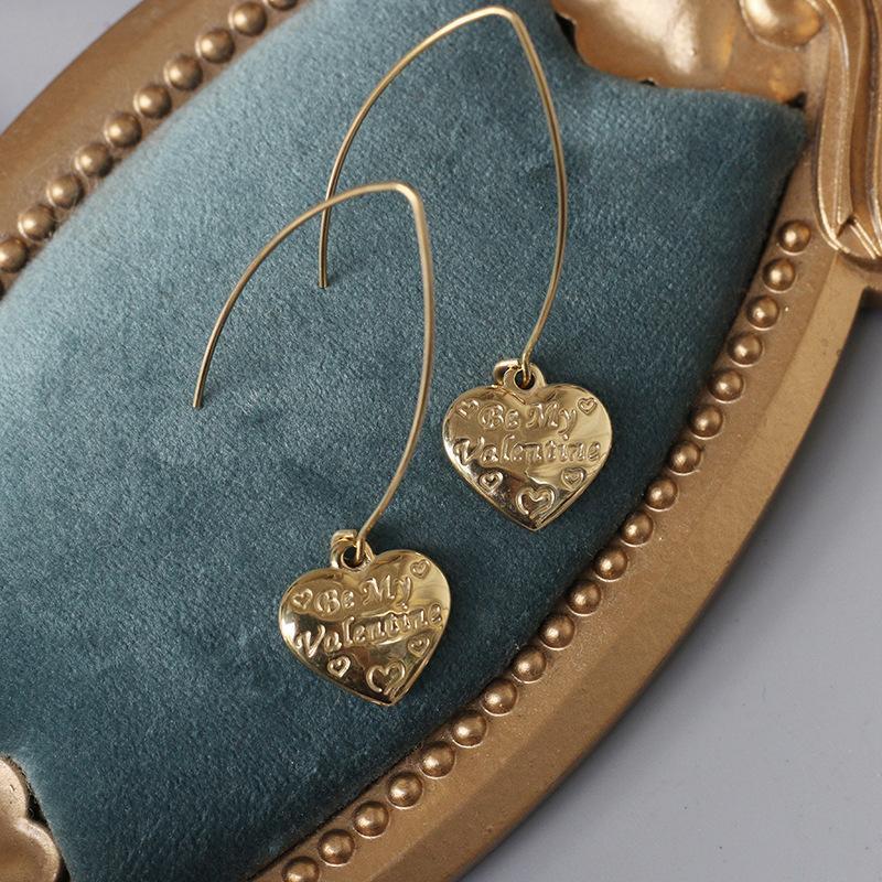 Модагирль Корейская мода Будь моим Валентина Сердце Висячие Серьги Ювелирные Изделия Из Нержавеющей Стали Женщины Подарок для нее