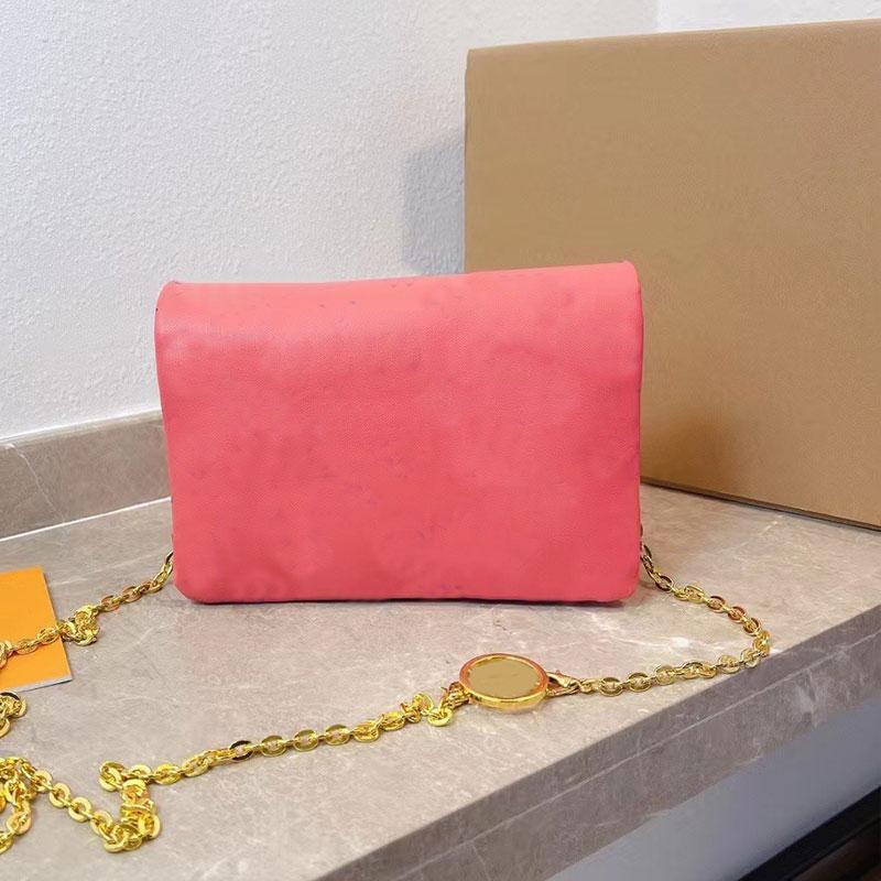 체인 패키지 메신저 가방 숄더백 일반 정품 가죽 편지 패턴 지퍼 하드웨어 부드러운 표면 여성 지갑 고품질