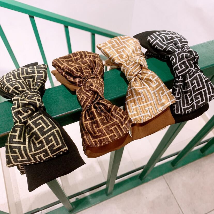 Haarschmuck Mode Designer Buchstaben Drucken Doppelschicht Bowknot Stirnbänder Luxus Wide Rand Twist Turban Hairhoop Headwear Headwrapps Für Frauen Mädchen