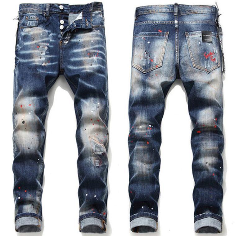 Calças de jeans masculinos Hot Calças rasgadas Melhor Versão Skinny Quebrado H2 Estilo Italiano Bicicleta Motocicleta Denim Revival Romio