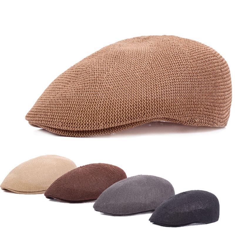 Bere Unisex Sboy Mesh Bere Yaz Zirveli Kap Şapka Golf Hollow Golf Nefes Düz Retro Büyük Başlık Büyük Şapkalar Cabbie