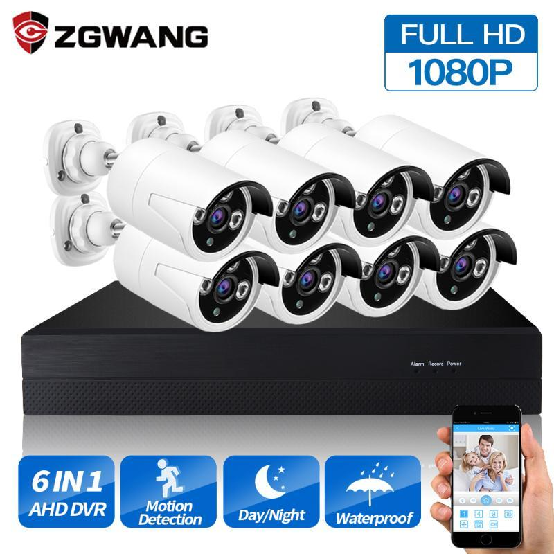 Zgwang للماء في الهواء الطلق ahd dvr نظام cctv 8 قطع 2.0mp 1080 وعاء أمن الوطن كاميرا P2P فيديو مراقبة كيت CCTV 1TB 2TB HDD