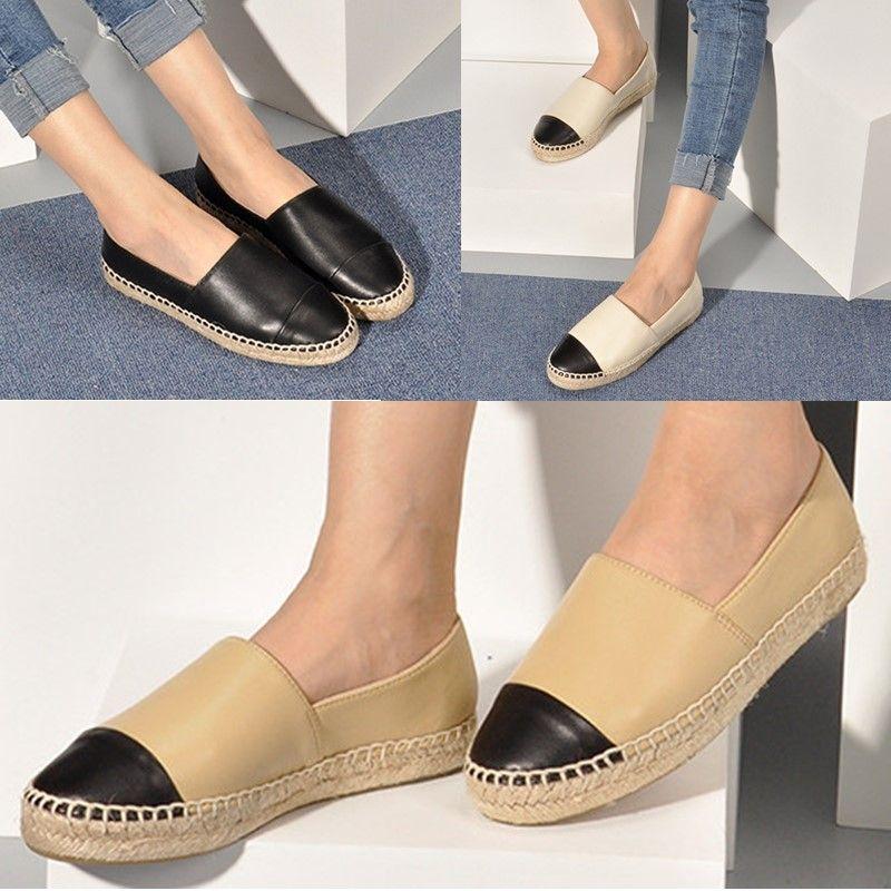 Verkäufe Frauen Espadrilles Schuhe Frühlingsfall Mode Damen Casual Flache Ferse Echte Weiche Echtes Leder Müßiggänger Slip-on-Platform Seasons Kleid Schuhgröße 34-42