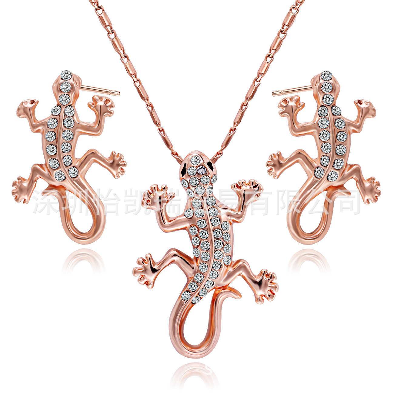 South Korean Animal Lizard Jewelry Women's Full Diamond Alloy Gecko Necklace Earring Set