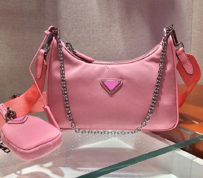 إعادة الطبعة 2005 مصممي النايلون حقائب الكتف عالية الجودة حقيبة يد جلدية مصمم أفضل مبيعا سيدة الصليب الجسم الفاخرة سلسلة حقيبة حمل