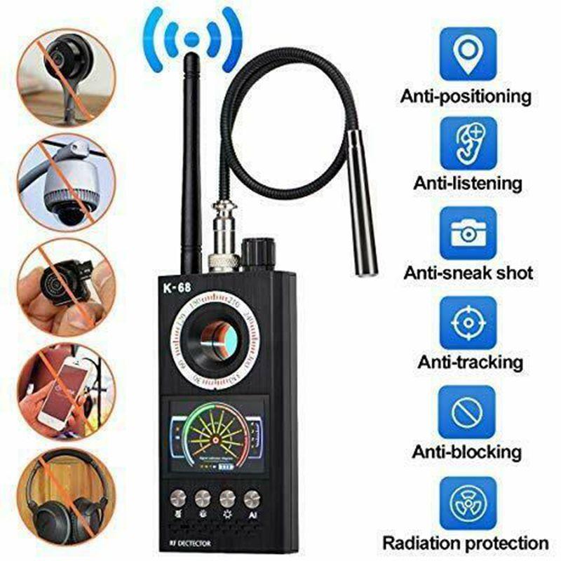 K68 Multi-functio anti-espião Detector de sinal de RF RF Bug GSM GPS Tracker Câmera escondida Dispositivo de câmera militar Versão profissional militar