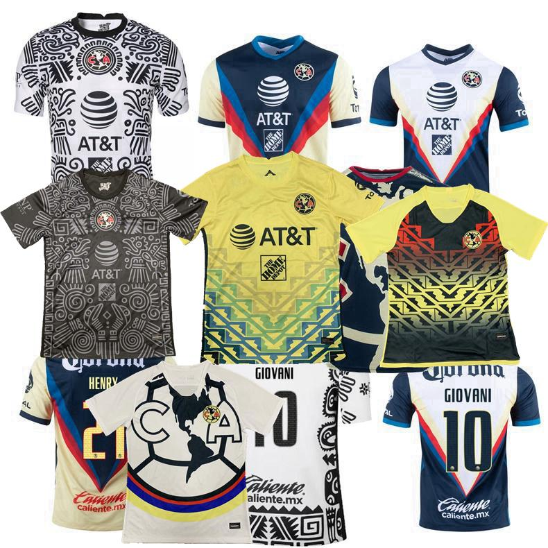 리가 MX 클럽 아메리카 2021 2022 축구 유니폼 r.martínez Giovani 홈 멀리 3 회 교육 조끼 20 22 축구 남성과 여성 셔츠 S-3XL