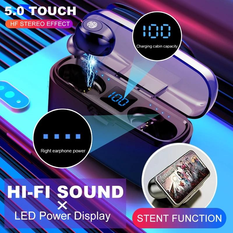 Kablosuz Kulaklık Bluetooth V5.0 F9 TWS Kulaklık HiFi Stereo Kulakiçi LED Ekran Dokunmatik Kontrol 2000 mAh Güç Bankası Kulaklık Mic ile