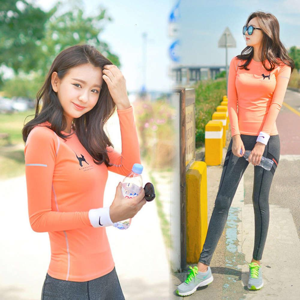 Spring and autumn winter women's sports long sleeve quick dry tight nine point tracksuit