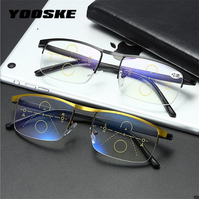 Солнцезащитные очки Yooske Прогрессивные Мультифокальные Очки для чтения Мужчины Анти-Синий Светильник Металлическая Гиропия Женщины Дальнее Пресбыопические Очки