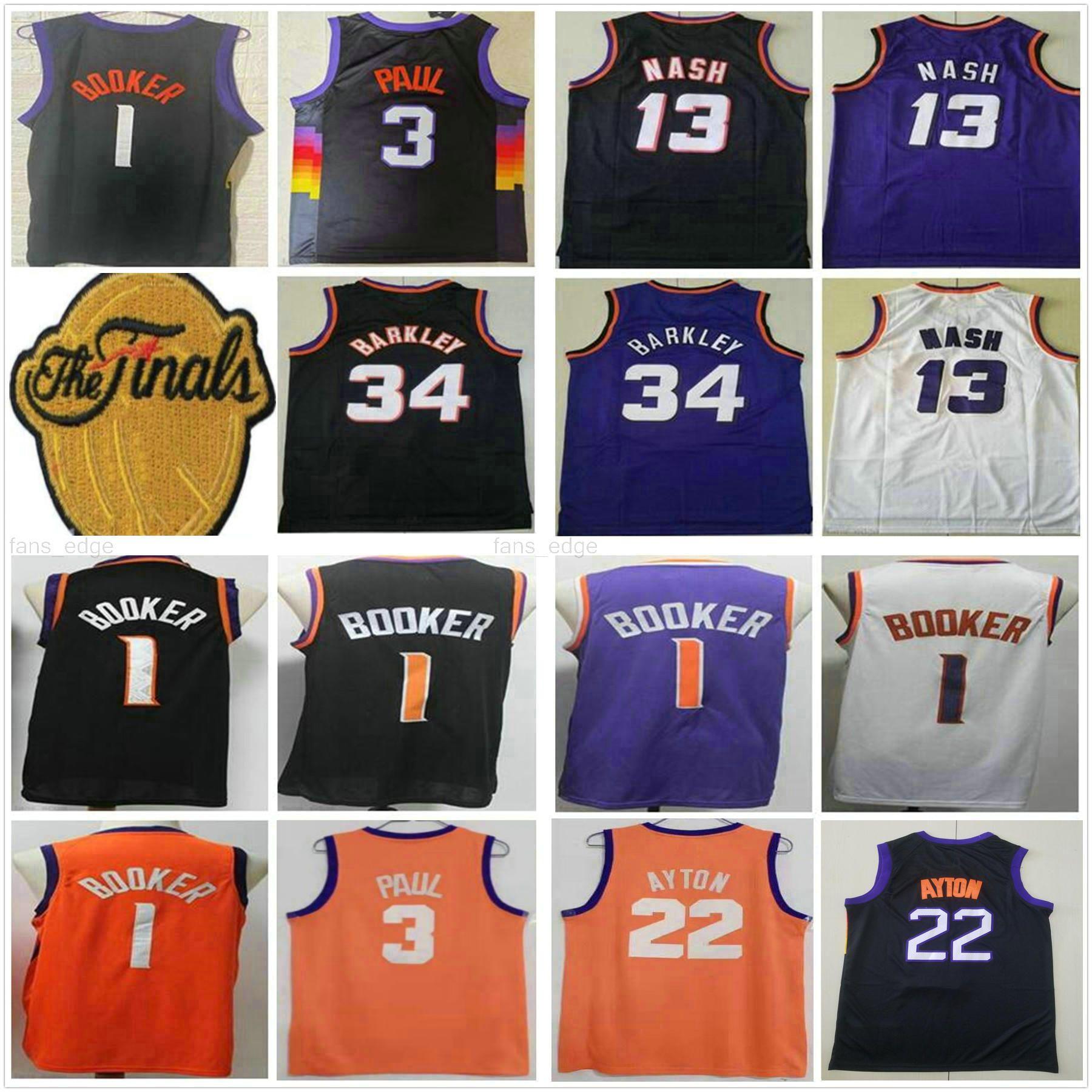 2021 Finaller Yama Devin 1 Booker Chris 3 Paul Basketbol Formaları DeAndre 22 Ayton Retro Charles 34 Barkley Steve 13 Nash Mor Siyah Beyaz Gömlek