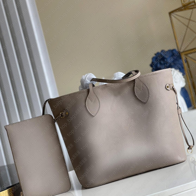 Handtasche frauen luxurys designer taschen 2021 nackt volle echtes leder buchstaben geprägte tote neverfu11 mit danke code composite schultereinkaufstasche