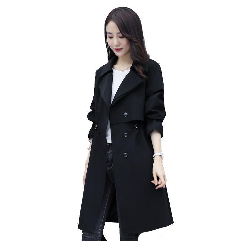 2021 yeni kadının trençkot uzun sonbahar kadın moda ince Kore casual yelek ceket xbf3