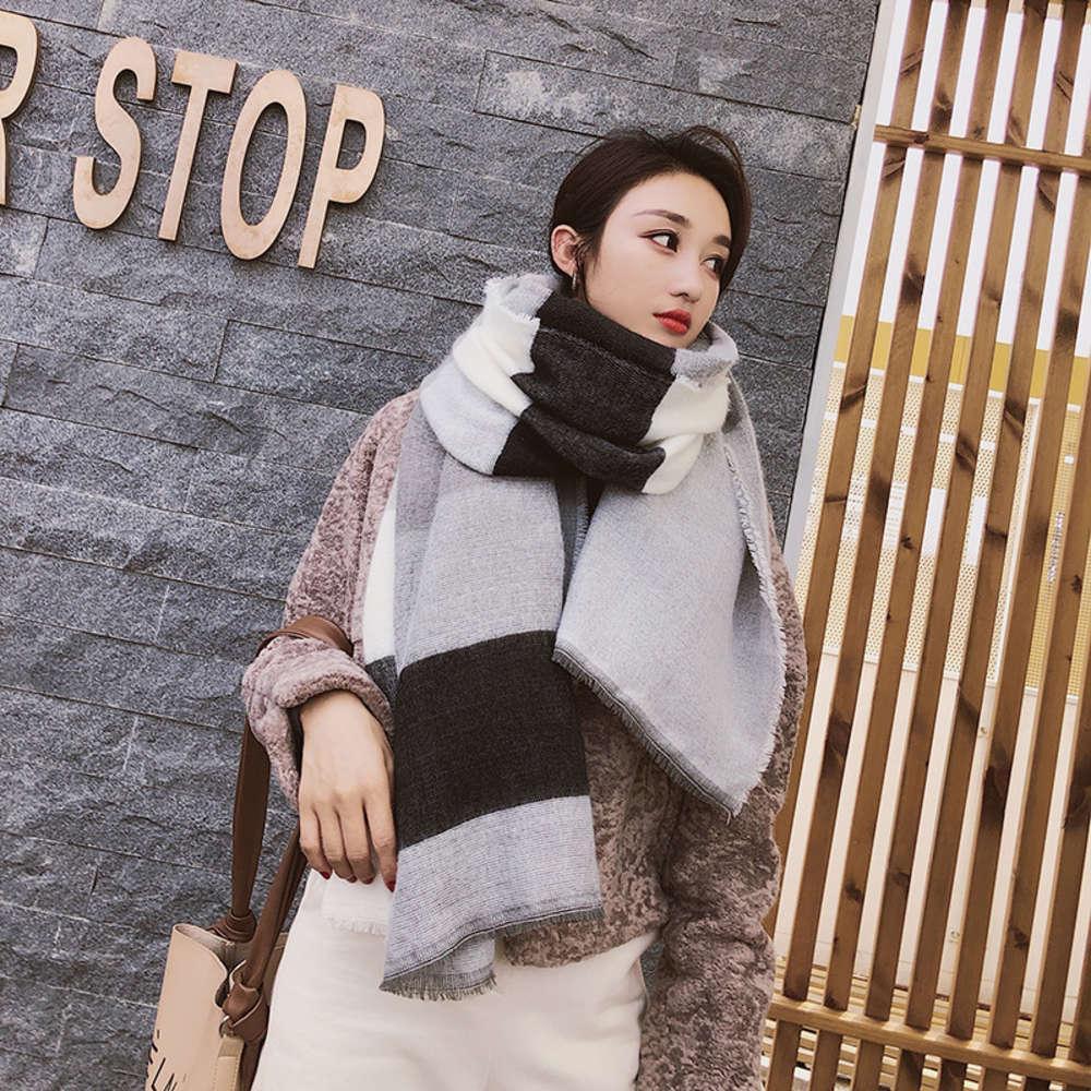 Южная Корея Донгдамен Новый плед Кашемир, как двухсторонний универсальный шарф