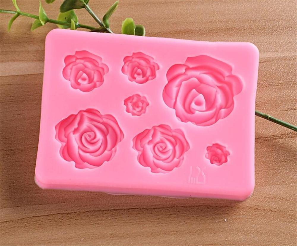 Nuova Pranzo Rosa fiori Stampo in silicone Stampo al cioccolato stampo di cioccolato torta di nozze strumenti per la decorazione del fondente zucca