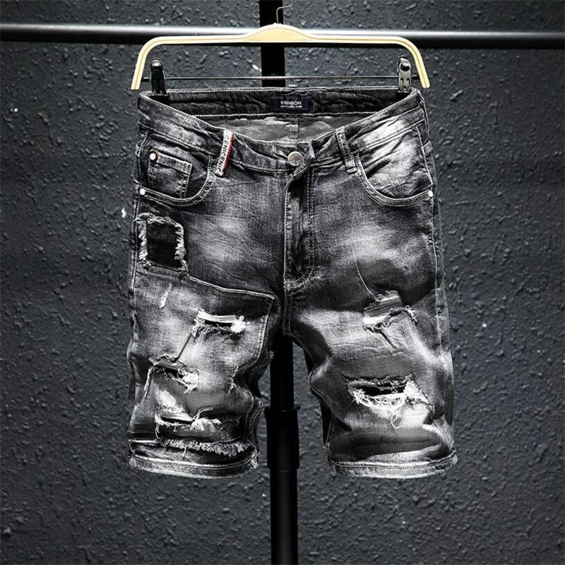 Pantaloncini da uomo Uomini Grigio Denim Grigio Denim Summer Hole Black Jeans Brevi Jeans Breve di alta qualità Soft Cotton Stretch Jean Jean Lunghezza del ginocchio