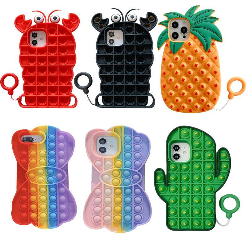 3D Leuke Push Pop Bubble Fidget Toy Phone Cases Release Stars Siliconen Cactus Black Lobster Pineapple Bow 30pcs / lot