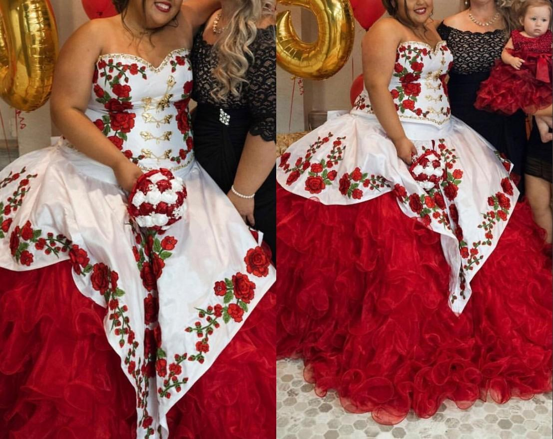 Stunning Red and White Plus size 3D Floral Flowers 2021 Charro Cheap Quinceanera Prom Formal Dress Ball Gown Long Mexican Vestidos 15 Anos