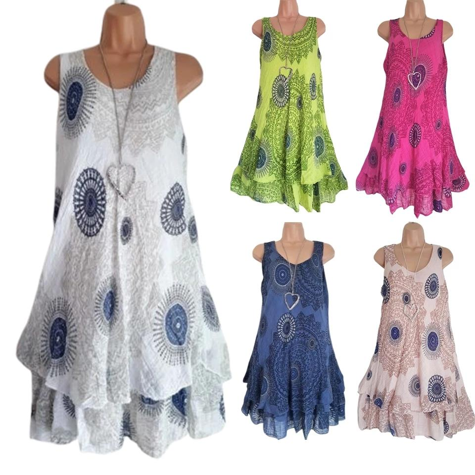 Double Layer Dress A Line Cascading Ruffle Sukienka Vintage Retro Kleid Plus Size Dresses For Women Beach Robe Femme Ete 2021