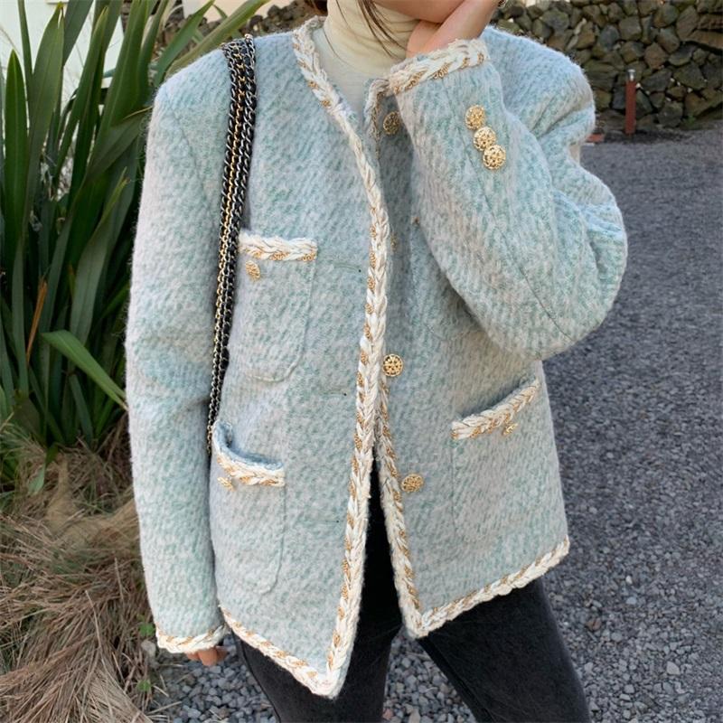 Giacche da donna 2021 Cappotto addensato invernale Piccolo giacca di fragranza Giacca da donna corta versione coreana temperamento monoretto